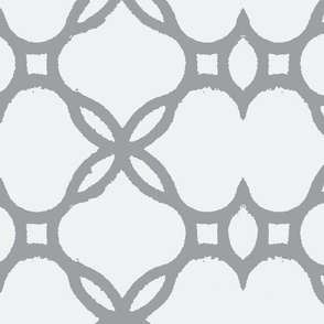 Ironwork Lattice White and Gray
