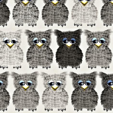Fuzzy Gray Owlettes2 fabric by glimmericks on Spoonflower - custom fabric
