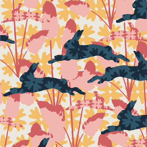 Bunny Tails Pink fabric by kathyjuriss on Spoonflower - custom fabric