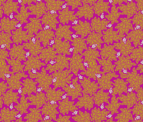 Love Dove Leaves - Fuscia Fusion fabric by glimmericks on Spoonflower - custom fabric