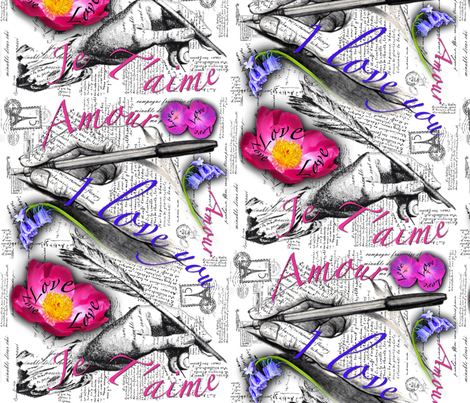 Je T'aime fabric by flipfashion on Spoonflower - custom fabric