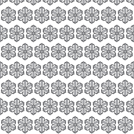 Small Six Petal Floral fabric by carrie_narducci on Spoonflower - custom fabric