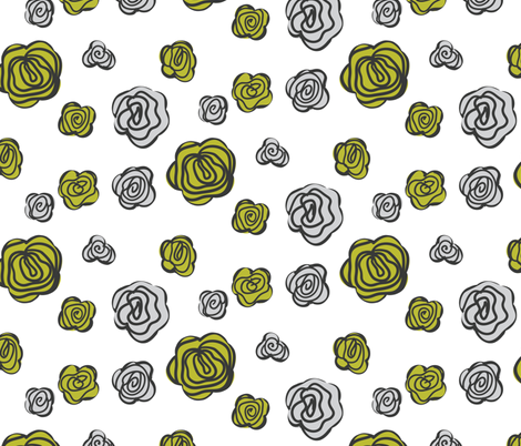 flowers olive and gray fabric by ravynka on Spoonflower - custom fabric