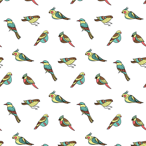 doodle birds on white fabric by ravynka on Spoonflower - custom fabric