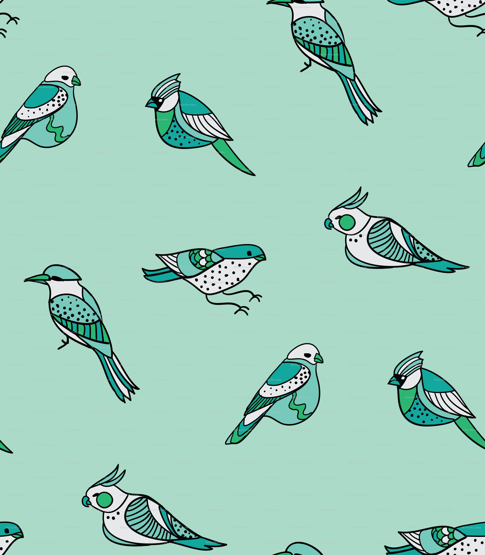 doodle birds pattern on mint wallpaper ravynka spoonflower