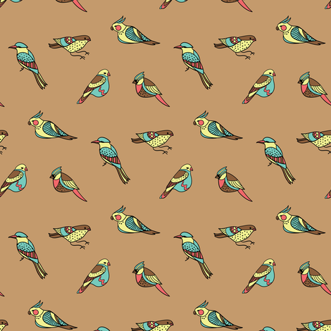 doodle birds on brown fabric by ravynka on Spoonflower - custom fabric