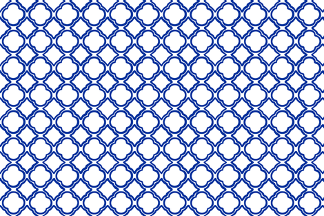 Tango Trellis Cobalt Outline fabric by lulabelle on Spoonflower - custom fabric