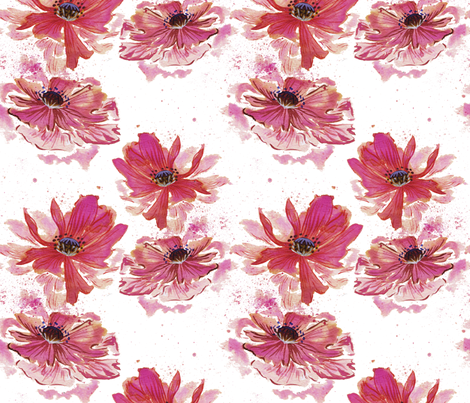 Watercolor Poppy fabric by marlene_pixley on Spoonflower - custom fabric