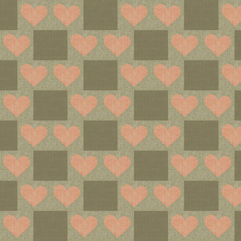 Heart to Heart Checks - taupe, salmon, brown fabric by materialsgirl on Spoonflower - custom fabric
