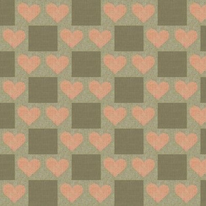 Heart to Heart Checks - taupe, salmon, brown