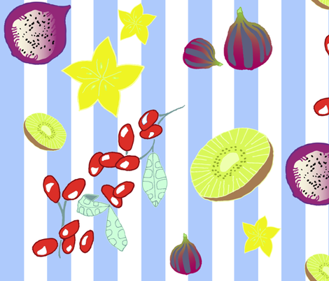 Fruit Basket Blue fabric by a_designs on Spoonflower - custom fabric
