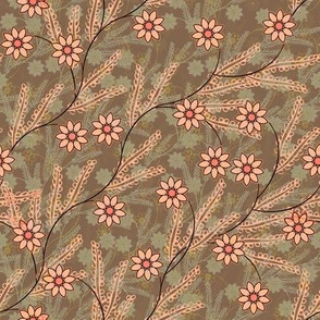 Meadow Floral in peach and taupe