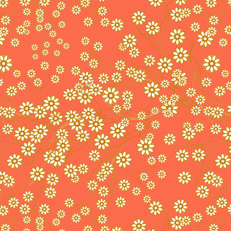 Meadow Floral Sprays in Mango fabric by joanmclemore on Spoonflower - custom fabric