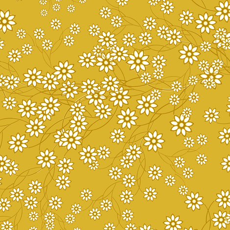 Baby's Breath Floral mustard fabric by joanmclemore on Spoonflower - custom fabric