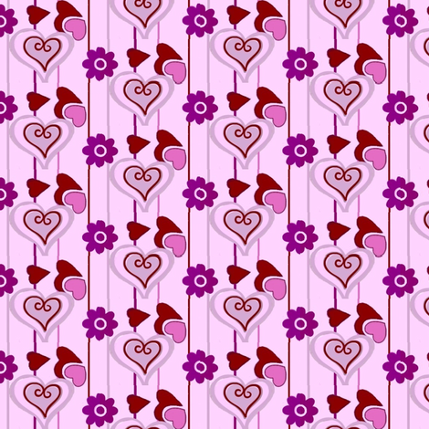 valentines red and purple hearts 02 fabric by dk_designs on Spoonflower - custom fabric