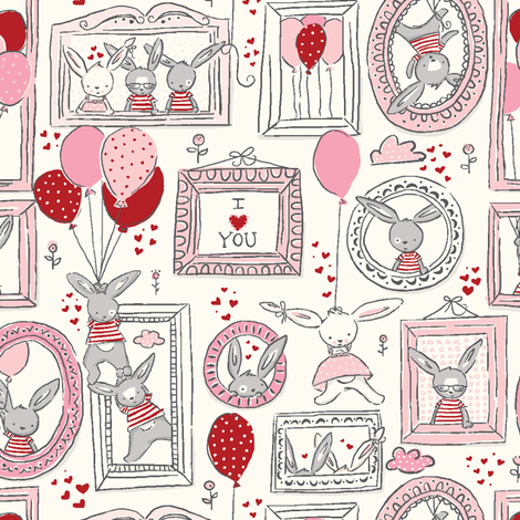 Funny_Bunny_Love fabric by stacyiesthsu on Spoonflower - custom fabric