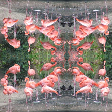 Flamingos on the Green fabric by ravynscache on Spoonflower - custom fabric