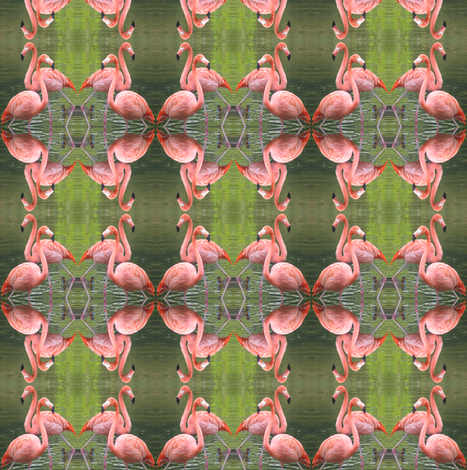 Flamingo Pair Geometric fabric by ravynscache on Spoonflower - custom fabric
