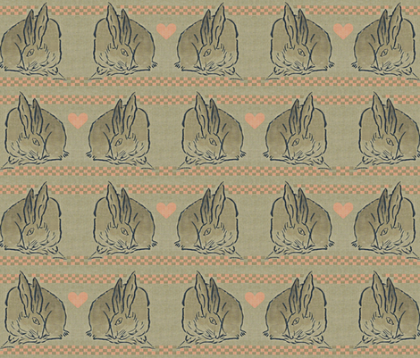 Amorous Spring Hares - taupe, charcoal & salmon pink.  Valentines Day. fabric by materialsgirl on Spoonflower - custom fabric