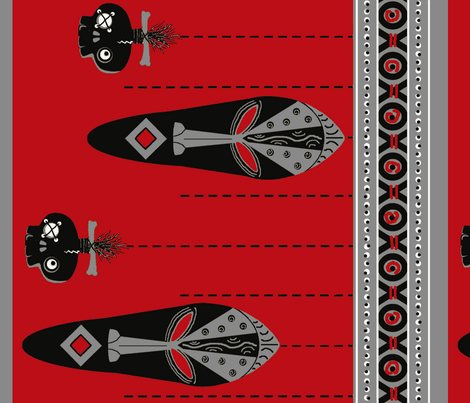 african mask border / red fabric by paragonstudios on Spoonflower - custom fabric