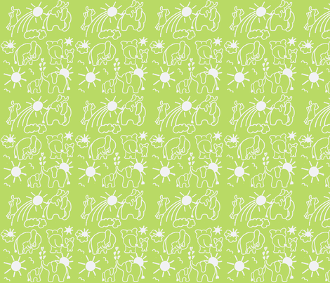 You Are My Sunshine Elephants in Green and White fabric by kbexquisites on Spoonflower - custom fabric
