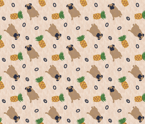 Primitive Pug and pineapple - ditsy fabric by rusticcorgi on Spoonflower - custom fabric