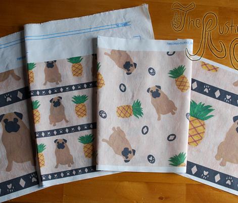 Primitive Pug and pineapple - small border