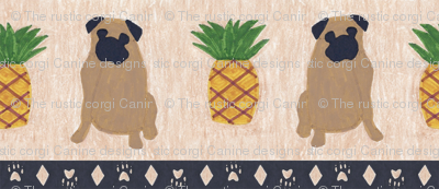 Primitive Pug and pineapple - small border