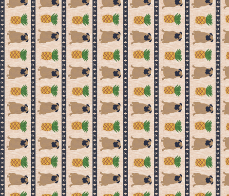 Primitive Pug and pineapple - large border length fabric by rusticcorgi on Spoonflower - custom fabric