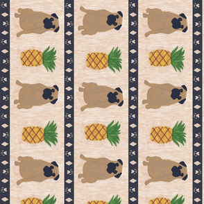 Primitive Pug and pineapple - large border length