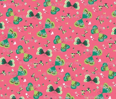 Emerald Butterflies in Pink