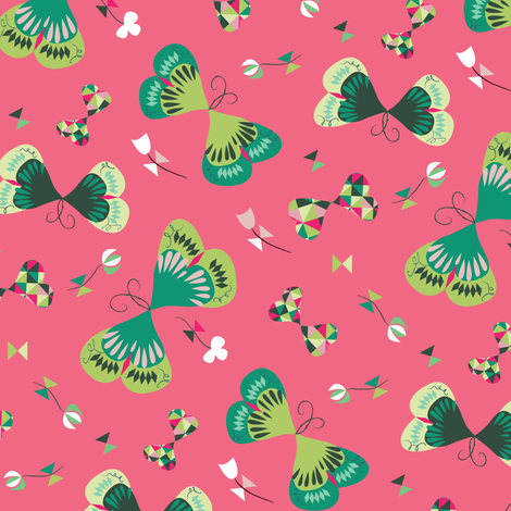 Emerald Butterflies in Pink fabric by licoricelove on Spoonflower - custom fabric