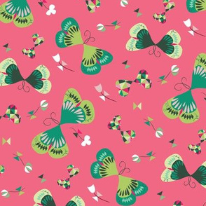 Emerald Butterflies in Pink