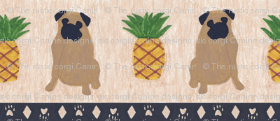 Primitive Pug and pineapple - large border width