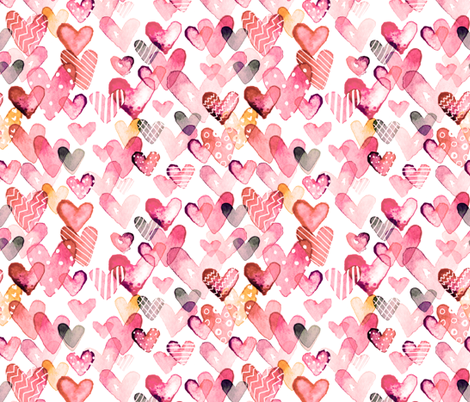 I Heart You in Rose fabric by sara_berrenson on Spoonflower - custom fabric