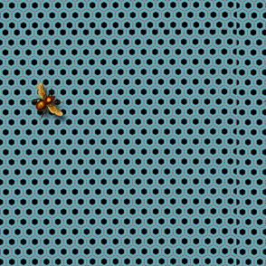 Blue Honeycomb with Bee