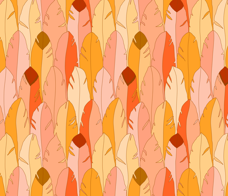 Large Feathers in Orange fabric by alinichole on Spoonflower - custom fabric
