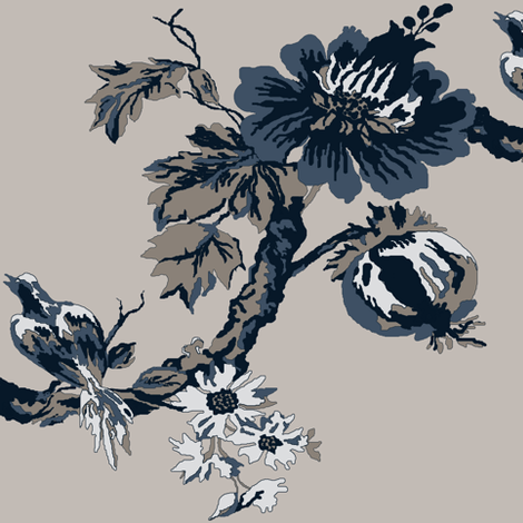 Botanical  Tree / indigo fabric by paragonstudios on Spoonflower - custom fabric