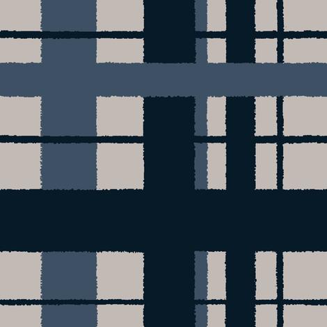 Timeless plaid / ikat indigo fabric by paragonstudios on Spoonflower - custom fabric