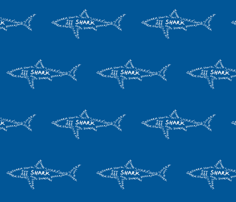 Shark Calligram fabric by blue_jacaranda on Spoonflower - custom fabric
