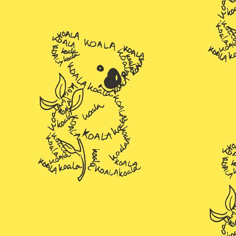 Koala Calligram fabric by blue_jacaranda on Spoonflower - custom fabric