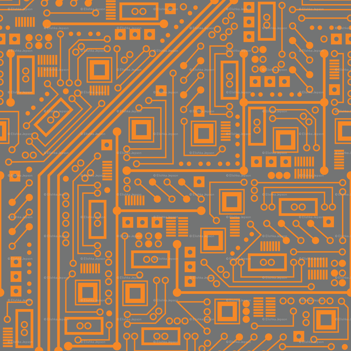 Robotika Circuit Board Orange Wallpaper Robyriker Spoonflower Custom Design On
