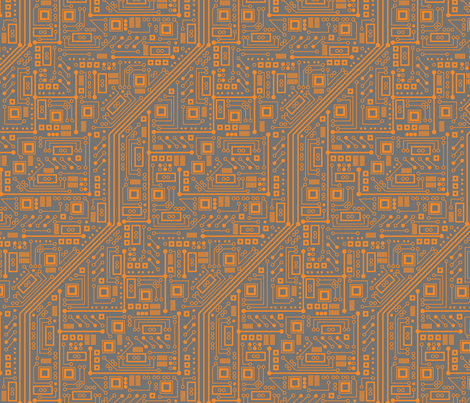 Robotika Circuit Board (Orange) fabric by robyriker on Spoonflower - custom fabric