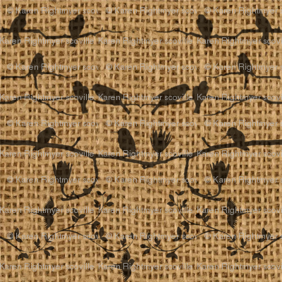 birds on burlap