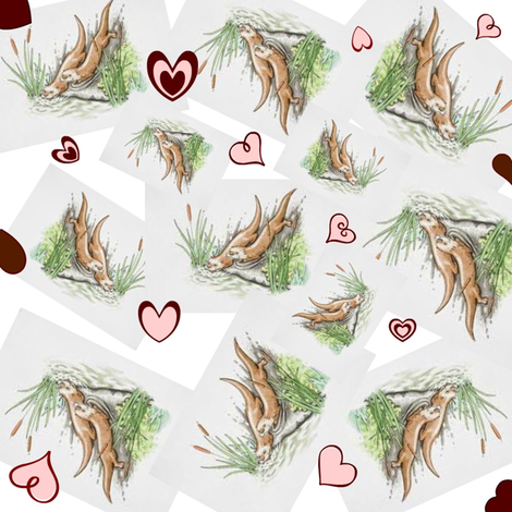 Valentine Otters fabric by ravynscache on Spoonflower - custom fabric