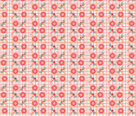 Orange_Dragonflies___Flowers_Plaid fabric by michelle_zollinger_tams on Spoonflower - custom fabric