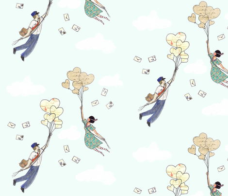 She Eloped With The Postman fabric by emiliemaguin on Spoonflower - custom fabric