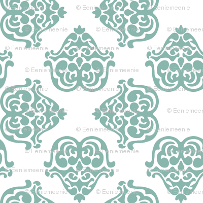 damask motif sea green