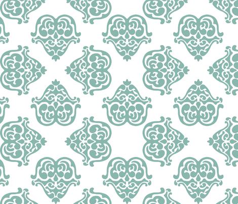 damask motif sea green fabric by tinamhall on Spoonflower - custom fabric