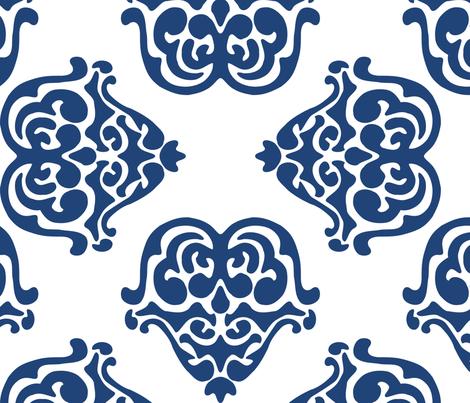 damask motif indigo fabric by tinamhall on Spoonflower - custom fabric